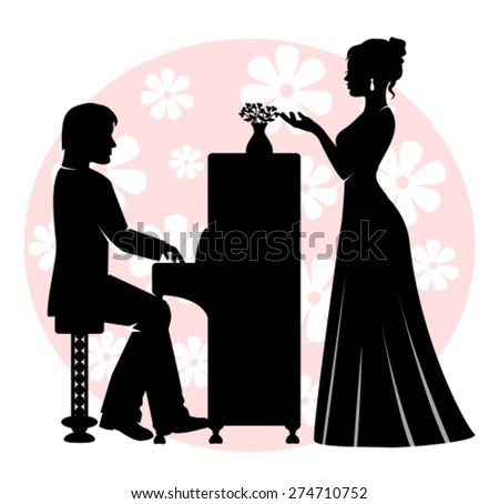 man playing the piano, and the woman in a long dress is singing - stock vector