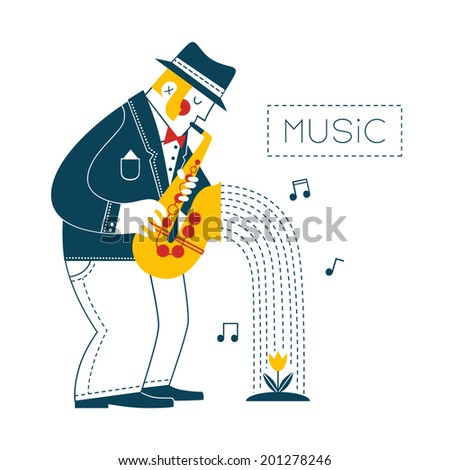 Man playing the saxophone - stock vector