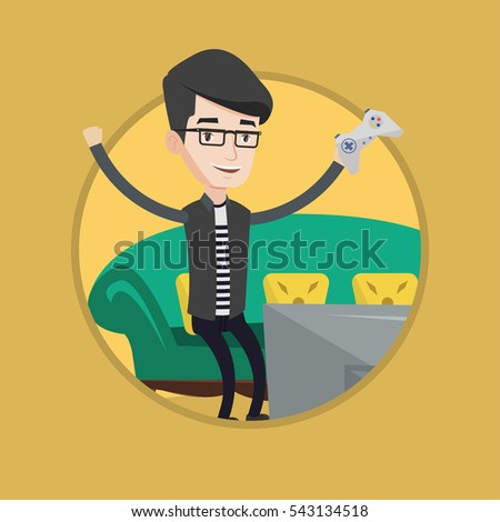 Man Playing Video Game Man Gaming Stock Vector Royalty Free