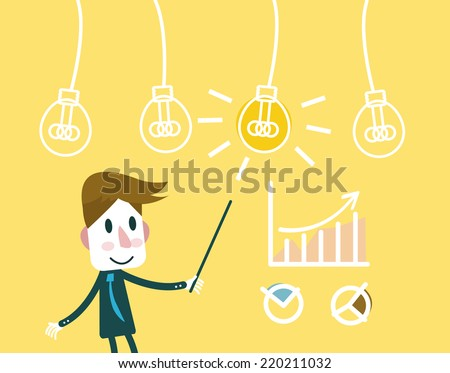 Man pointing at a Idea lightbulb with growth charts. business creativity and successful. flat vector illustration - stock vector