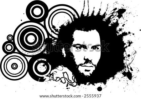 man portrait - stock vector