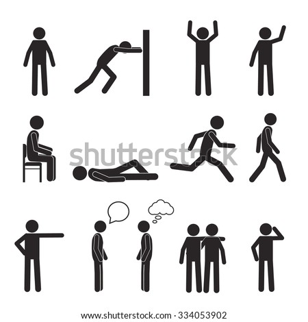 Man posture pictogram and icons set. People sitting, standing, running, lying, talking. Human body action poses and figures. Vector illustration isolated on white background. - stock vector