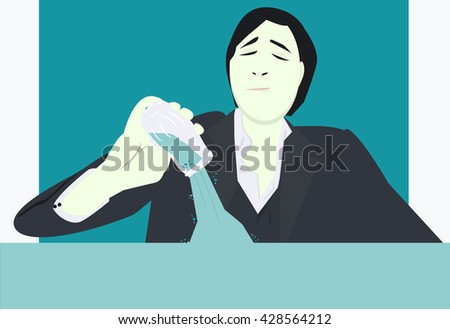 man pouring water illustration