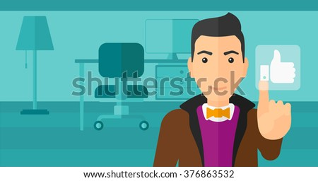 Man pressing like button. - stock vector