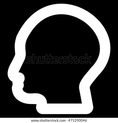 Man Profile vector icon. Style is stroke flat icon symbol, white color, black background.