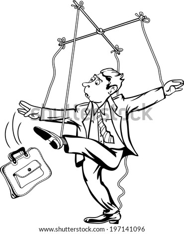 Man pulling the strings. Worker as a marionette puppet theater. - stock vector