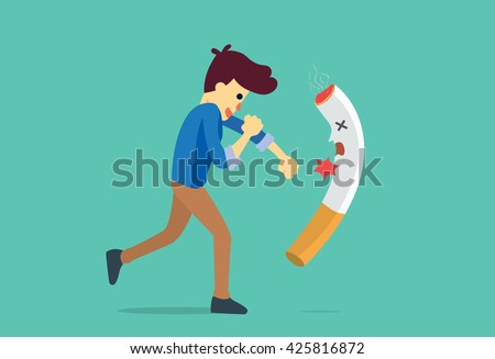 Man punching a cigarette to knock out. This illustration meaning to fighting for stop smoking.  - stock vector