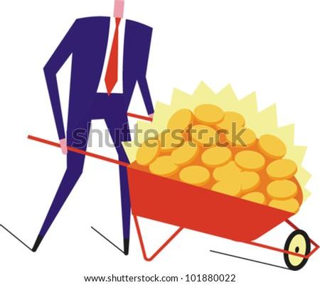 Man pushing a wheelbarrow full of shiny gold coins - stock vector