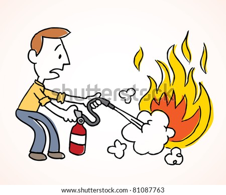 Man putting out a fire - stock vector