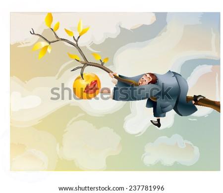 Man reaching for an apple. - stock vector