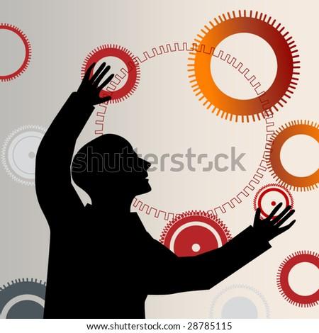 man reaching juggling gears - stock vector