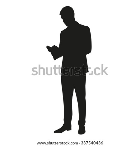 Man reading a book. Vector silhouette - stock vector
