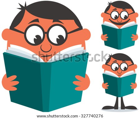 Man reading book. Illustration is in 3 different versions. - stock vector