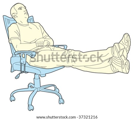 man relaxing in a swivel chair - stock vector