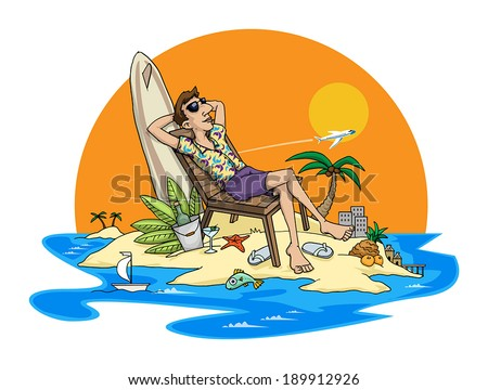 Man relaxing on beach tropical holiday, holiday concept, vector illustration - stock vector