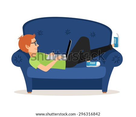 Man relaxing on couch and browsing social media or chatting. Internet communication, sofa and leisure, technology and laptop. Vector illustration - stock vector