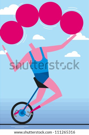 Man rides unicycle on tightrope while juggling - stock vector