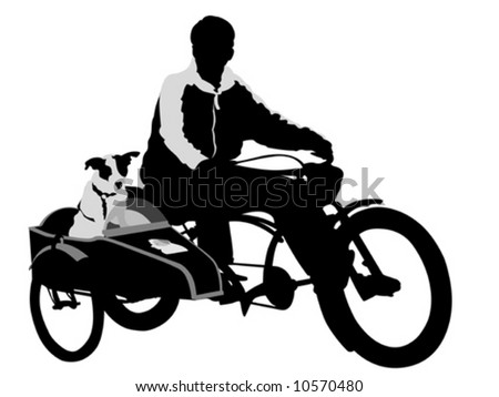 Man  riding a bike with his dog in  pet trailer - stock vector