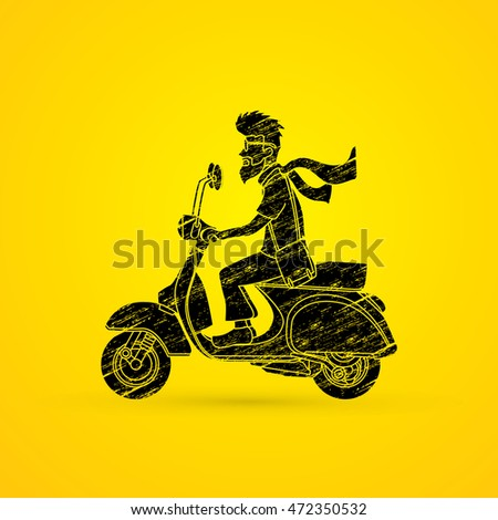 Man riding scooter designed using grunge brush graphic vector.