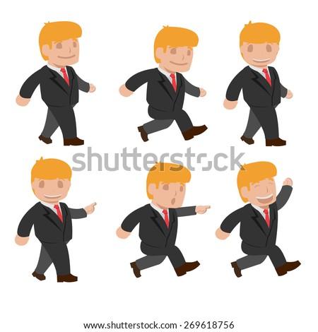Man  Run Walk Funny Cartoon Set Vector - stock vector