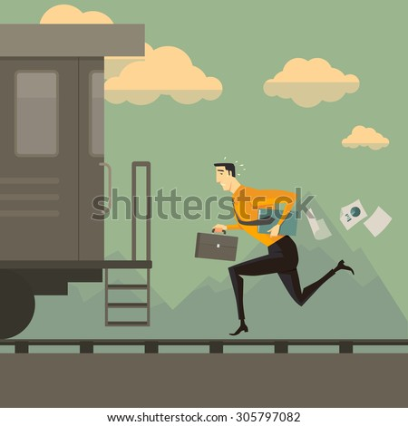 Man running after the train. Business success concept conquering adversity overcoming leadership challenge aspiration ambition motivation hurry up, vector illustration. - stock vector