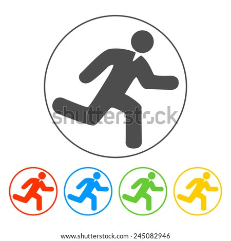 man running icon on white background vector - stock vector