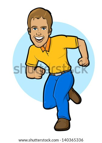 Man running in uniform or jeans, fully dressed/Running Character Illustration - stock vector