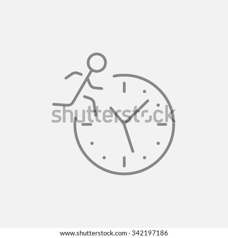 Man running on clock background line icon for web, mobile and infographics. Vector dark grey icon isolated on light grey background.