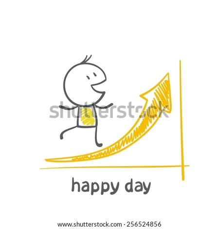 man running on schedule in top and is happy happy day, illustration - stock vector