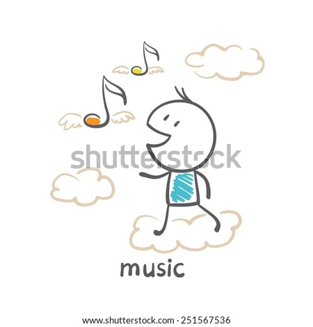 man running the music for oblpkam illustration - stock vector