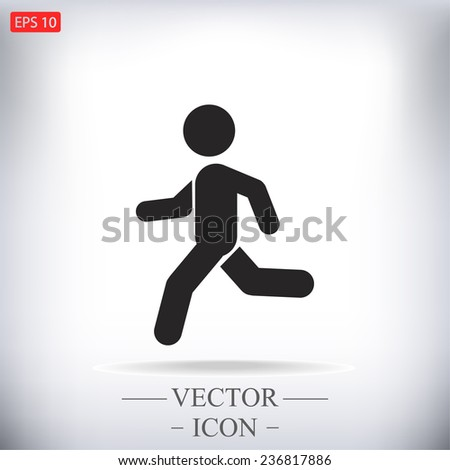 man running  vector icon  - stock vector