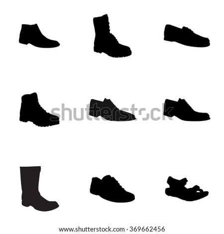 Man's footwear, silhouettes. Man's footwear. Names: biker boot, bootee, business shoe, lase-up, men's sandal,  moccasin, outdoor boots, trainers, trekking boots, silhouettes. Footwear for men. - stock vector