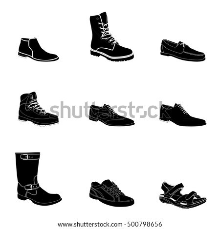 Man's footwear, silhouettes, white details. Man's footwear. Names: biker boot, bootee, business shoe, lase-up, men's sandal, moccasin, outdoor boots, trainers, trekking boots.