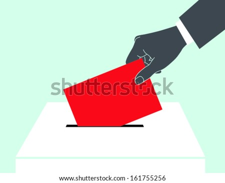 Man's hand down the ballot in the ballot box. - stock vector