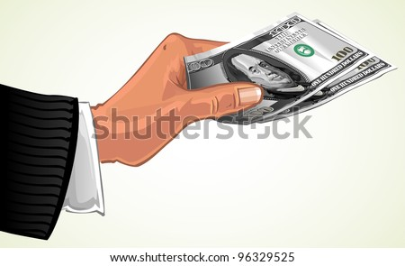 man's hand transferring two hundred dollars