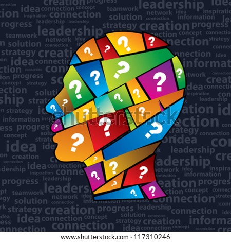 Man s head with many question - stock vector