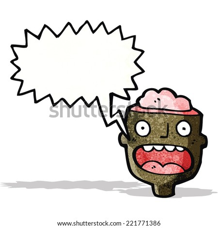 man's head with open brain - stock vector
