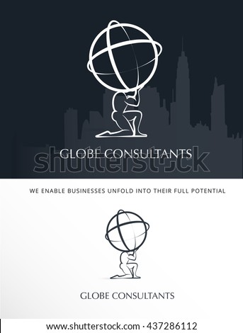 MAN'S SILHOUETTE HOLDING THE WORLD , BUSINESS VECTOR LOGO / ICON  - stock vector