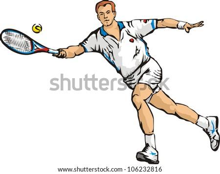 man`s tennis - stock vector