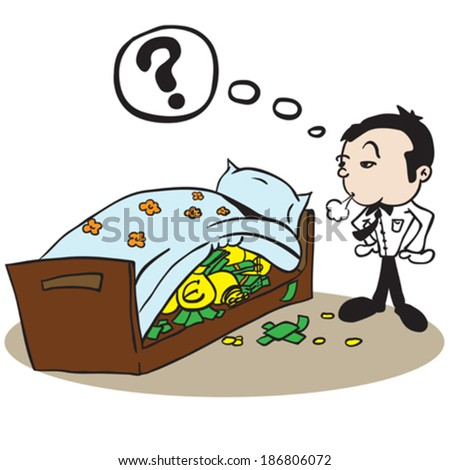 man saving money under bed cartoon illustration - stock vector