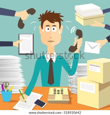 Man Secretary Hard Working Busy Businessman Stock Vector (Royalty ...