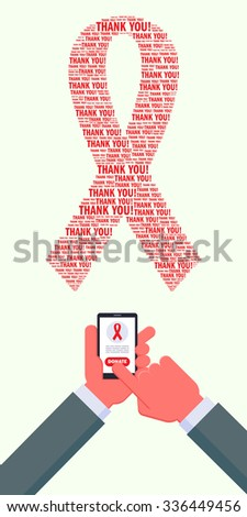 """Man sending money using smartphone. World AIDS day supporting. AIDS awareness red ribbon made of """"Thank you"""" words. Hands are cropped using clipping mask. - stock vector"""