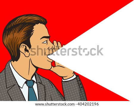 Man shouting with his hand in the face pop art style vector illustration. Human illustration. Comic book style imitation. Vintage retro style. Conceptual illustration