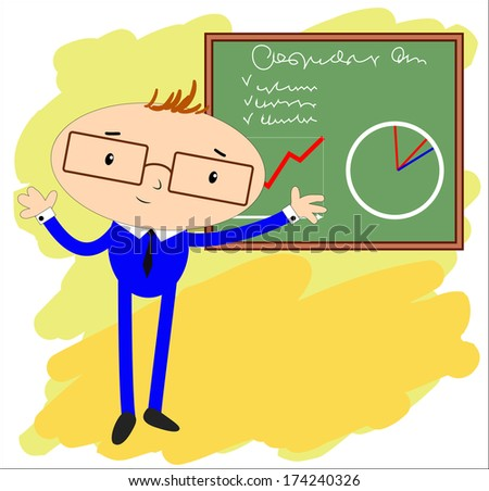 Man, showing a presentation on the Board - stock vector