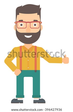 Man showing thumbs up. - stock vector