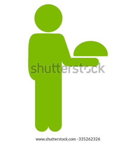 Man Silhouette Waiter vector icon. Style is flat symbol, eco green color, rounded angles, white background. - stock vector