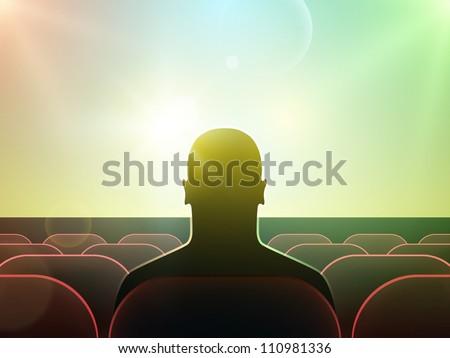 Man silhouette watching movie on big screen in cinema. Vector art. - stock vector