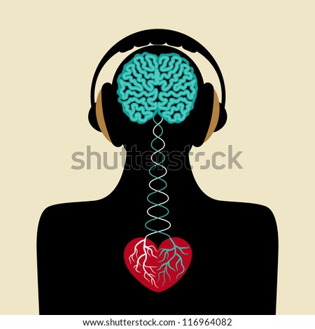 man silhouette with brain and heart - stock vector
