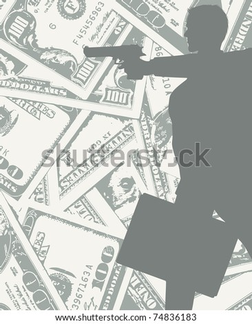 man silhouette with gun and money (also available jpg version) - stock vector