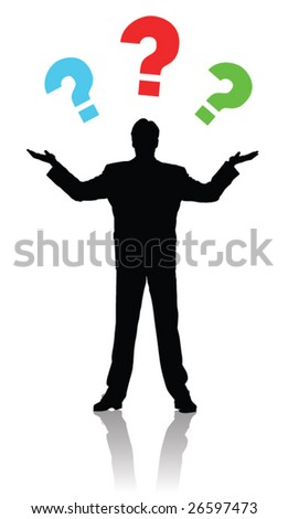 Man silhouette with question marks - stock vector
